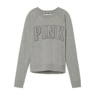 VS PINK grey long sleeve crewneck EUC medium